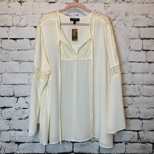 Lane Bryant BoHo cream blouse w/wide bell sleeve